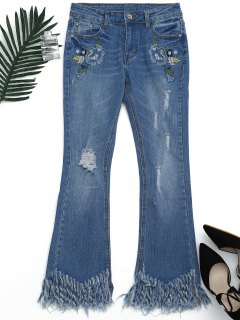 Distressed Embroidered Cutoffs Flared Jeans - Denim Blue S