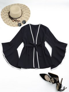 Flare Sleeve Belted Kimono Blouse - Black L