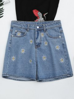 High Waisted Daisy Embroidered Denim Shorts - Denim Blue S