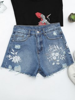 Cutoffs Ripped Floral Embroidered Denim Shorts - Denim Blue M