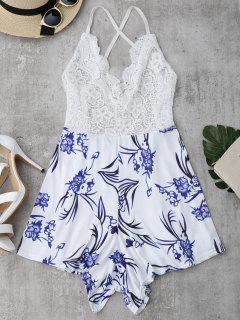Lace Panel Printed Open Back Romper - White Xl