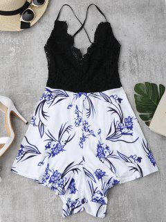 Lace Panel Printed Open Back Romper - Black L