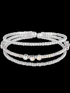 Rhinestone Layered Cuff Bracelet - Silver