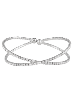 Double Crossed Loops Rhinestone Bangle - Silver