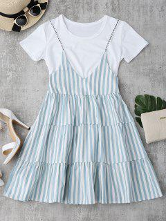Plain Tee With Striped Cami Dress Set - Light Green