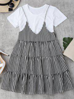 Plain Tee With Striped Cami Dress Set - Black