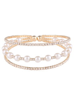 Faux Pearl Layered Rhinestone Bracelet - Golden