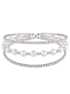 Faux Pearl Layered Rhinestone Bracelet - Silver