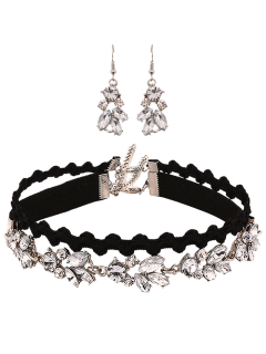 Faux Crystal Inlaid Jewelry Set - Black