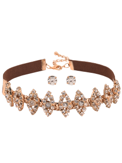 Faux Suede Hollow Out Strass Ensemble Choker - Or