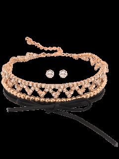 Capa Geométrica De Diamantes De Imitación Fruncido Conjunto De Gargantilla - Dorado
