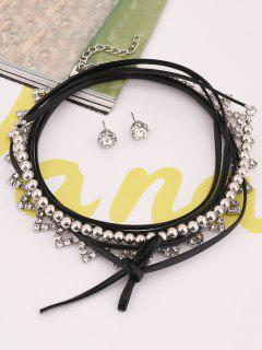 Layer Geometrical Rhinestone Beaded Choker Set - Silver