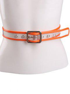 Transparent Candy Color Brim Pin Buckle Belt - Orange