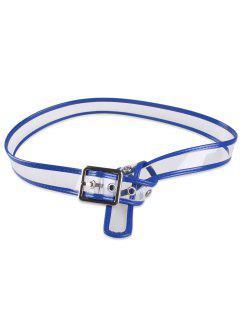 Transparent Candy Color Brim Pin Buckle Belt - Blue