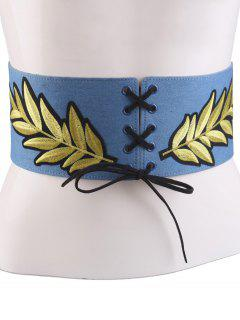 Lace Up Leaf Embroidery Wide Corset Belt - Light Blue