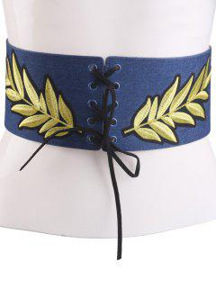 Lace Up Leaf Embroidery Wide Corset Belt - Cerulean