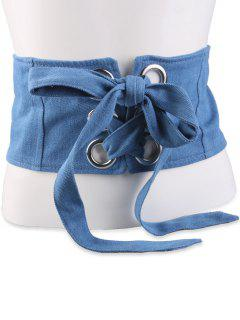 Lace Up Snap Button Wide Corset Belt - Light Blue