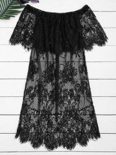 Off The Shoulder Sheer Lace Blouse - Black Xl