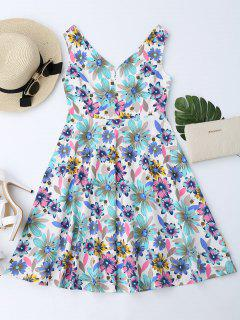 Floral Print Notched Flare Dress - Floral M
