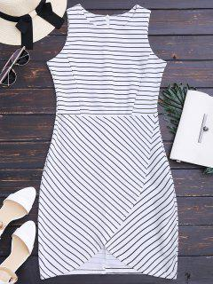Round Collar Sleeveless Striped Dress - Stripe M
