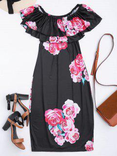 Off Shoulder Ruffle Floral Sheath Dress - Black M