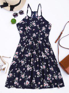 Vestido De Bata De Flores Minúsculos Con Tirante Fino - Azul Purpúreo S