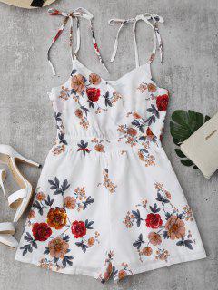 Floral Print Self Tie Cami Romper - White M