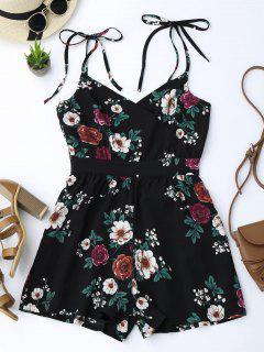 Floral Print Self Tie Cami Romper - Black S