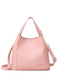 Faux Leather Cross Body Tote Bag - Pink