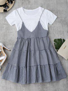 Plain T-Shirt Mit Karo Cami Kleid Set - Kariert