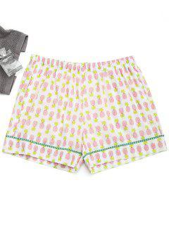 Shorts à Domicile Imprimés Ananas Avec Poches - Blanc M