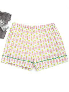 Shorts à Domicile Imprimés Ananas Avec Poches - Blanc S