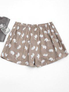 Pockets Elephant Print Loungewear Shorts - Light Khaki M