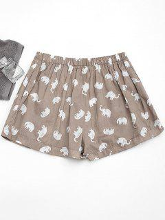 Pockets Elephant Print Loungewear Shorts - Light Khaki S