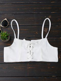 Lace Up Ribbed Cami Top - White M