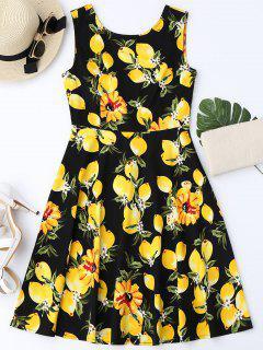 Lemon Print Sleeveless Flare Dress - Black S
