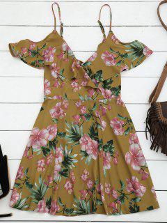 Cut Out Ruffles Cold Shoulder Mini Dress - Floral S