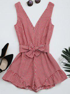 Checked Plunge Romper - Checked M