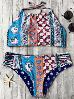 Patchwork Print High Neck Bikini Set - Floral S