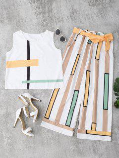 Striped Tank Top And Belted Pants - Yellow M