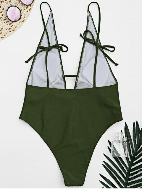 lady Tied Cami Plunging Neck High Cut Swimsuit - ARMY GREEN S Mobile