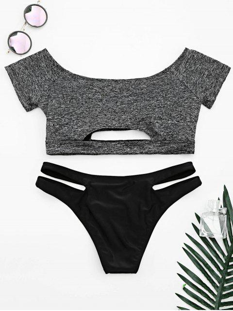 online Cut Out Space Dyed Bandage Bikini - GRAY M Mobile