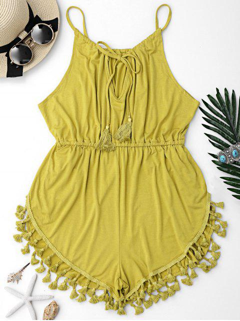 chic Tassel Cover Up Dolphin Romper - BLUISH YELLOW M Mobile