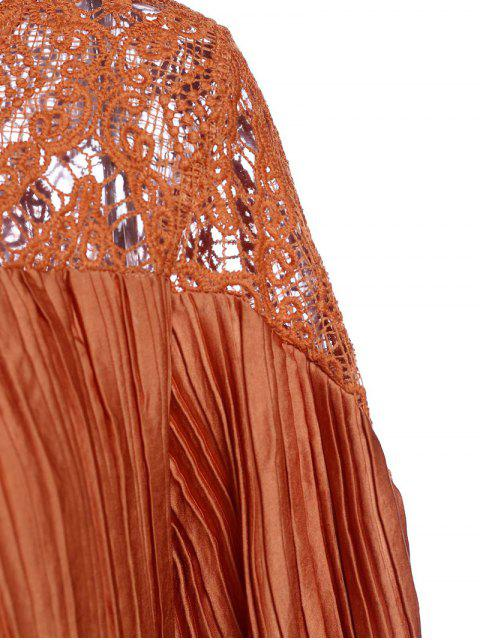 chic Sateen Puff Sleeve See-Through Maxi Dress - DARKSALMON L Mobile