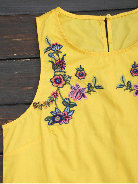 lady Ruffles Floral Embroidered Casual Dress - YELLOW S Mobile