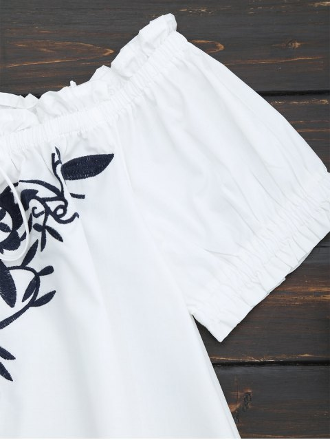 hot Embroidered Flounced Off Shoulder Top - WHITE L Mobile