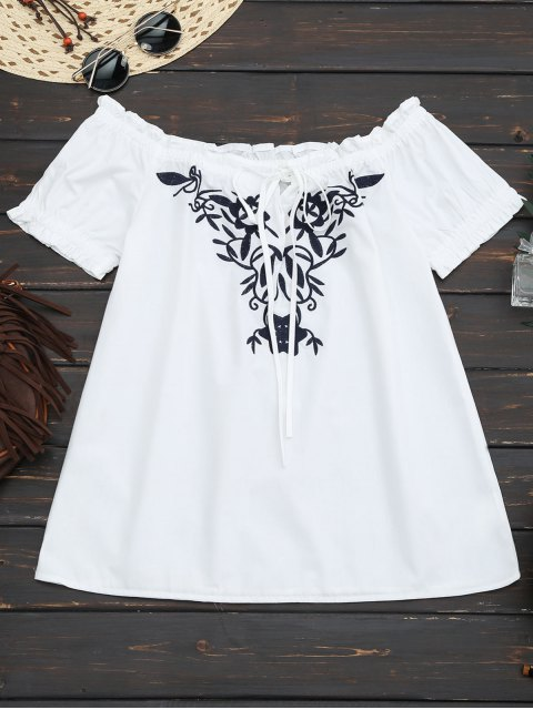 outfits Embroidered Flounced Off Shoulder Top - WHITE S Mobile
