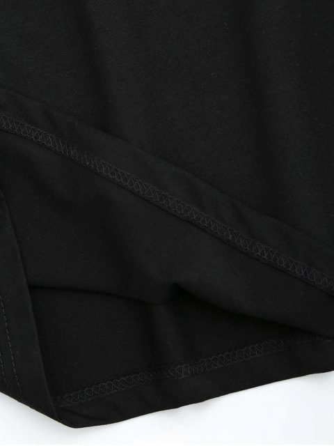 latest Sequins Crane Embroidered Cotton T-Shirt - BLACK S Mobile