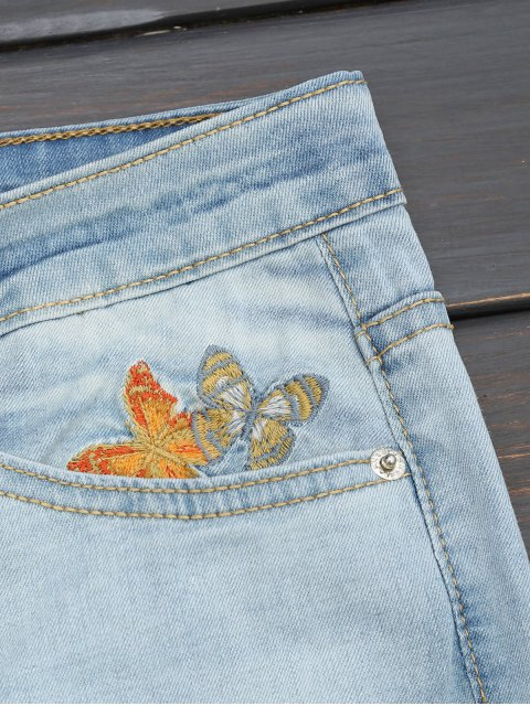 ladies Ripped Floral Embroidered Narrow Feet Jeans - DENIM BLUE M Mobile