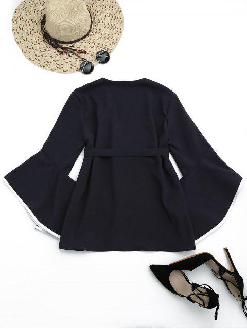 shop Flare Sleeve Belted Kimono Blouse - BLACK S Mobile